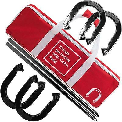 Heavy Duty League Play Professional Horseshoes Set Hook Loop Strap Carry Case