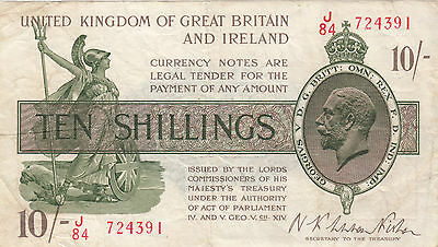 T30 Fisher 10/- Shilling treasury note VF J - First prefix 2nd Issue