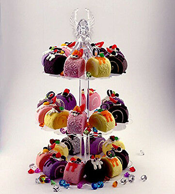 Clear Acrylic 3 -Tier Pastry Cupcake Special Event Weddings Birthday Treat Stand
