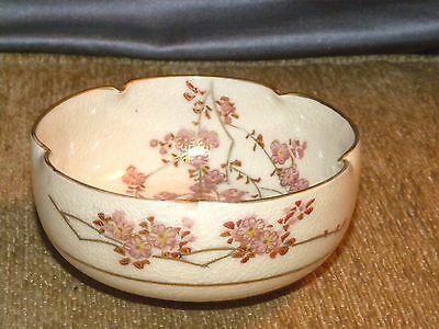 Pretty Old Japanese Satsuma Bowl w/Hanging Cherry Blossoms & Roses Signed Soko