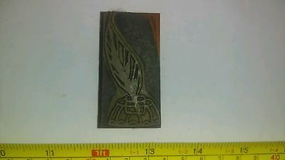 Vintage Letterpress Printing Block Inkwell and Quill Pen Rare