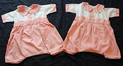 Vintage 1950s Twin Toddler Rompers Play Suits Onsies 2 Matching Outfits Girls