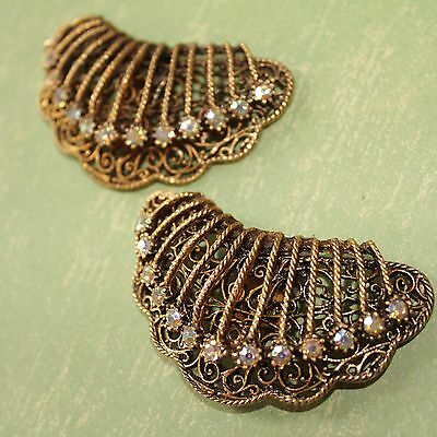 Vintage Antiqued Gold Tone AB Rhinestone Filigree Spray Disco Shoe Clips