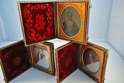 3 Daguerreotypes 1/6 Plate in Cases of Younger Man Holding Keepsake Box & Women