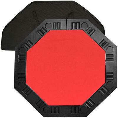 8 Player Portable Poker Molded Chip Trays Octagonal 48 in. Red Felt Table Top