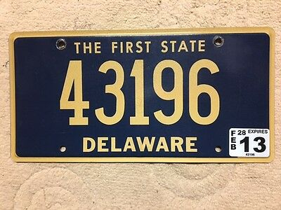 Nice expired Feb 2013 DELAWARE license plate Tag five digit # 43196