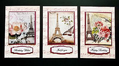 Beautiful Paris Inspired Card Toppers X 3 Incl Mats + Music Background Layers