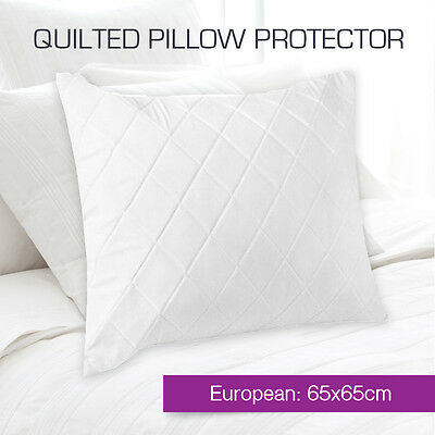 Aus Made Quilted European Pillow Protectors Case Zipper Cotton Cover 65 x 65cm