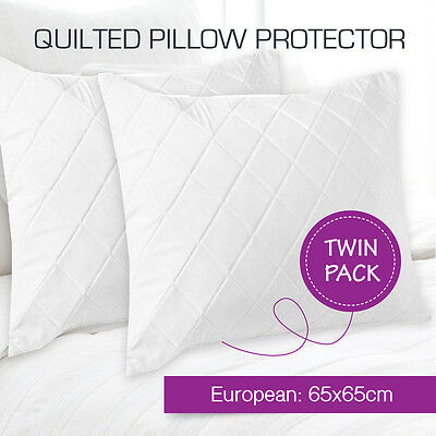 2 x Aus Made Quilted European Pillow Protectors Case Cotton Cover 65 x 65cm
