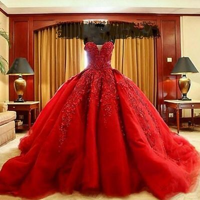 New Formal Red Appliques Quinceanera Dress Pageant Prom Party Evening Ball Gowns