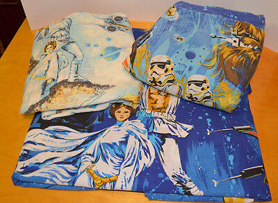 Vintage Star Wars Twin Bed Sheets Lot Of 3 Material Fabric Anh 1977