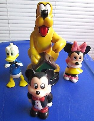 Mixed Lot of 4 Vintage Disney Plastic Collectibles Pluto Bank/Mickey and Minnie/