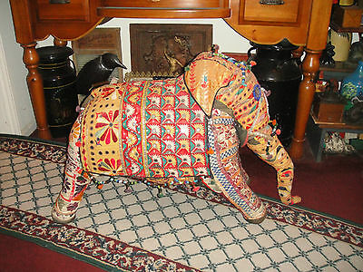 Gigantic Vintage India Ceremonial Elephant-Fabric & Sequins-42LBS-Stuffed-RARE