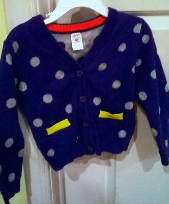 Carter's Toddler Girl 4T Cardigan Sweater Blue With Gray Dots Yellow Hearts