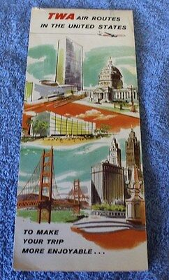 Vintage Memorabilia TWA Airlines Air Routes in the USA, Map 1956