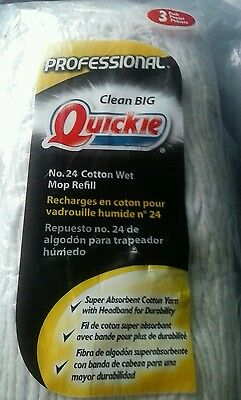 New Quickie #0381-3  3 Pack Professional No 24 Cotton Wet Mop Refill