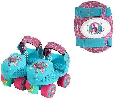 Roller Skates Kids 6-12 Trolls Adjustable Junior Size Roller Strap Knee Pads