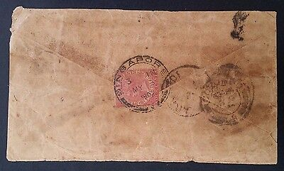 SCARCE 1902 Straits Settlements Cover ties 4c rose QV stamp canc Singapore