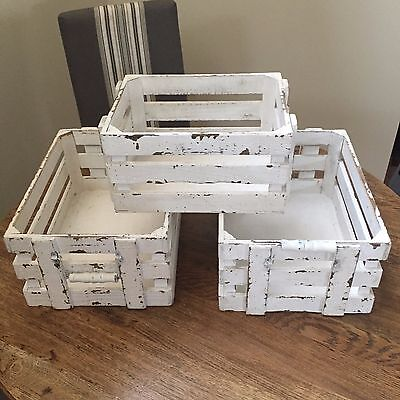 White Washed Wooden Storage Crates