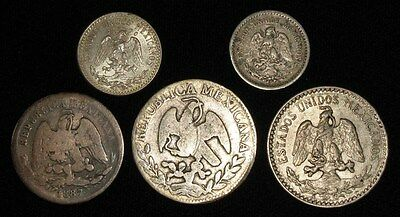 5 Silver Coins from Mexico.  1846-1942.  No Reserve!!