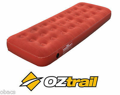 Oztrail Single Inflatable Velour Air Bed Mat Mattress Camp Sleeping