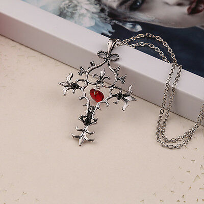 The Vampire Diaries necklace vintage cross pendant red heart gothic men jewelry