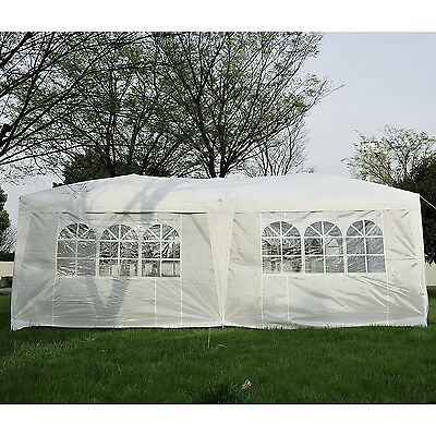 Outsunny 9.8'x 20' Outdoor Patio Pop Up Gazebo Canopy Party Tent Wedding White