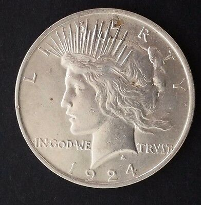 "1924 United States ""Peace Dollar"" Silver (.90) $1 coin"