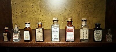 Lot of 9 antique apothecary pharmacy bottles RARE COLLECTION!