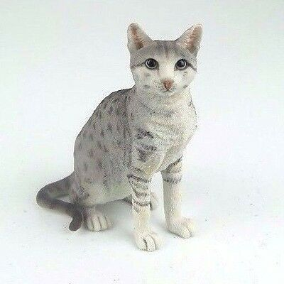 "Shorthair Tabby Cat Sitting - Spotted Gray - Figurine Miniature 4.25""H New"