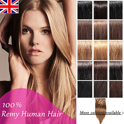 Real Human Hair Full Head Clip in Remy Hair Extensions Straight Hair