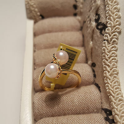 Beautiful Genuine Japanese Akoya Pearl Crossover Ring in 14k gold over S/Silver