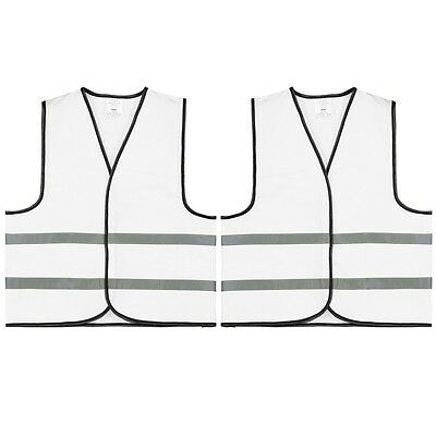 (737) 2 x Quality Signal vest Safety Vest Vest XL White