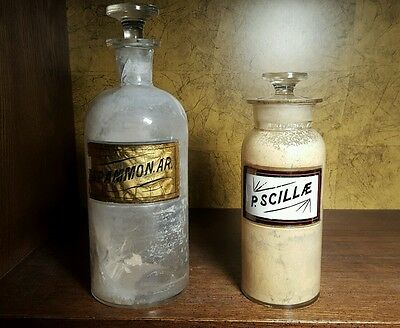 Lot of 2 antique apothecary pharmacy 8 & 10 in. LUG bottles