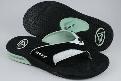 a9c565e80 Reef Fanning Black/Mint Green/White Seafoam Flip Flops Thong Sandals Women  Size