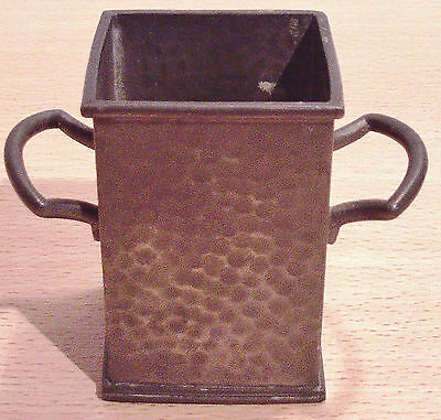 PEWTER Metal - Small Square Vase by HUTTON, Sheffield - VGC OLD
