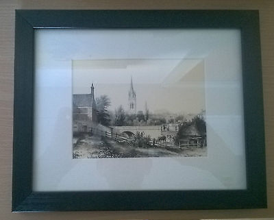 Reprint of 1840 Sketch of Louth - View of St James from the paper Mill Bridge