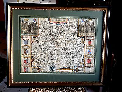 1610 John Speed Surrey Genuine Old Antique Map Sudbury Humble 1st? Early Edition