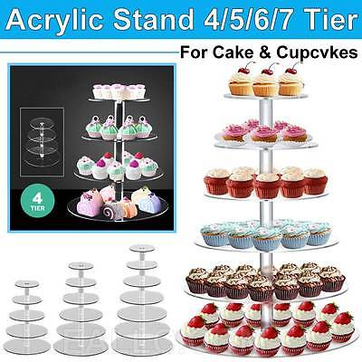 4 5 6 7 Tier Acrylic  Wedding Party Birthday Cake Cupcake Round Clear Stand Hot
