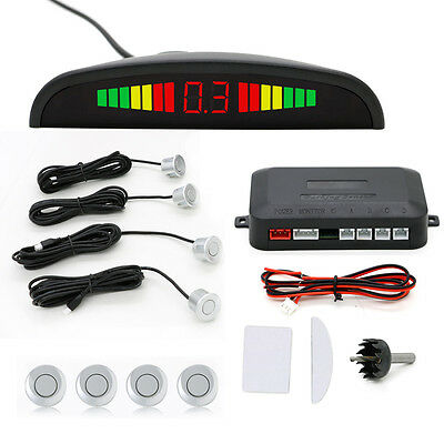Car Reverse Parking Sensor Rear 4 Sensors Backup Radar Audio Buzzer Alarm Kit