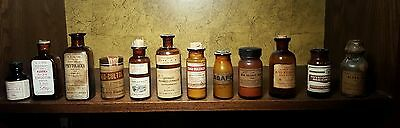 Lot of 12 antique apothecary pharmacy bottles SOME SEALED!
