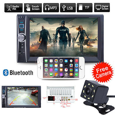 "7"" HD 2 DIN Car Touch Bluetooth Stereo Radio FM MP5 Player GPS Navigation Camera"