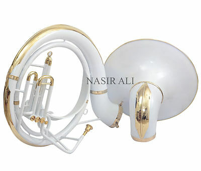 Nasir Ali White Lacquered Bb Pitch Sousaphone Big Bell New Year Sale + Free Bag