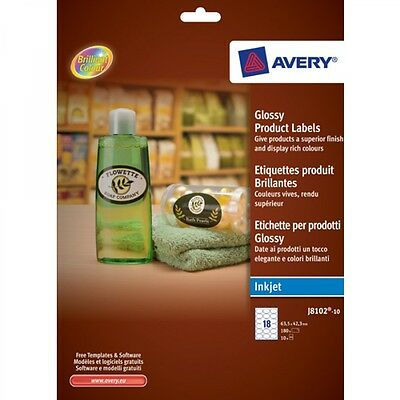 Avery 180 X Glossy Oval Labels for Inkjet Printers 63.5 x 42.3 mm Oval J8102-10