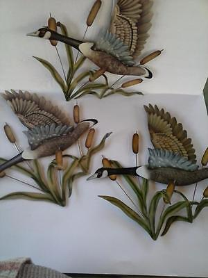 3 Metal Flying Geese w Cattails Vintage Wall Art MCM