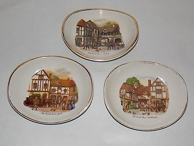 Set of 3 Vintage Rare Wade miniature pin dishes Old Coach House