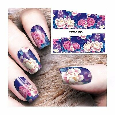 Nail Art Water Decals Stickers Transfers Deep Purple Pink Flowers Gel Polish