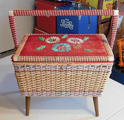Rare Antique Woven Wicker & Rope Vintage Sewing Basket Colourful W/feet Handle
