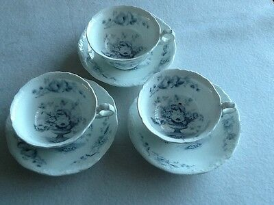 three pairs of 19th century porcelain cups and saucers