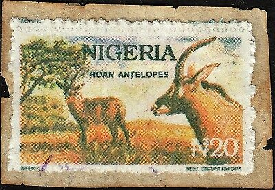 "Nigeria 1993 20n Roan Antelope Postal Forgery for ""Nigerian Scam"" Mail on Piece"